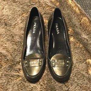 Prada gray kitten heels 38